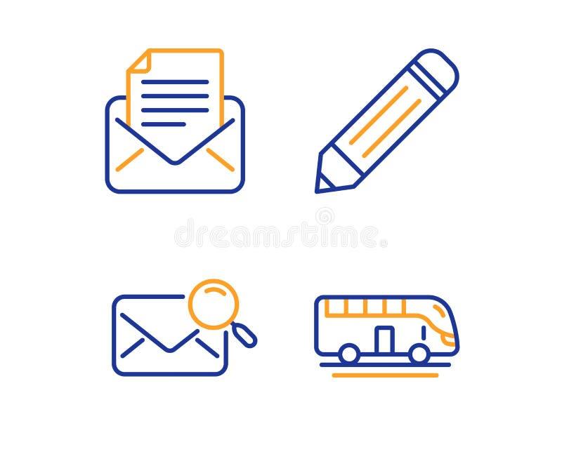 Correspondance de crayon, de courrier et ensemble d'ic?nes de courrier de recherche Signe de visite d'autobus Vecteur illustration stock