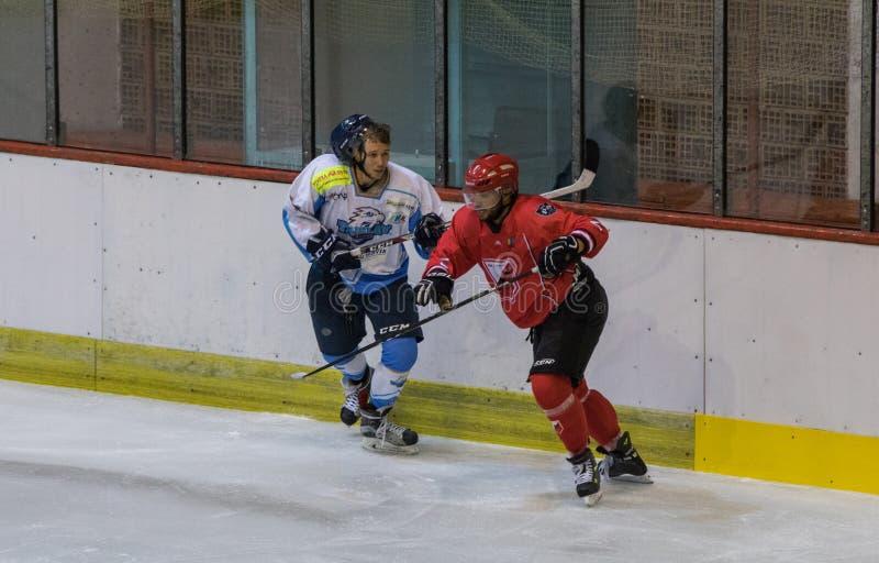 Correspondance internationale de la Ligue de Hockey IHL entre HC Vojvoidna Novi Sad et HC Triglav Kranj photographie stock