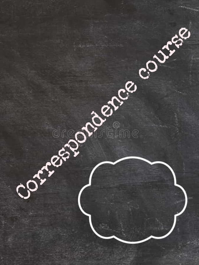 correspondence course text written on chalkboard with circle box stock photography