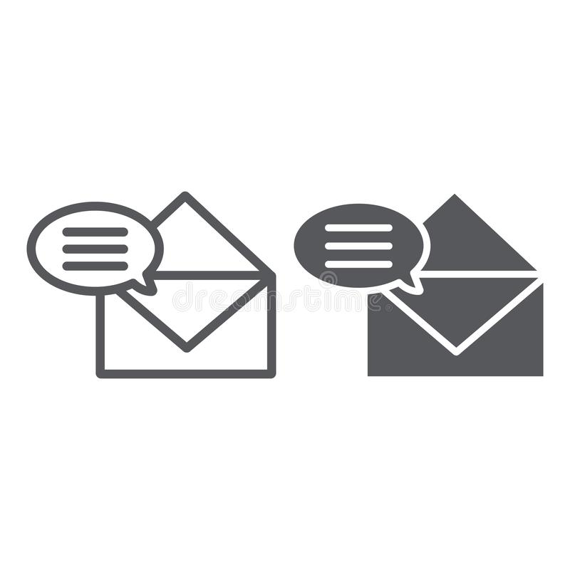 Correspondence line and glyph icon, email and mail, envelope sign, vector graphics, a linear pattern on a white. Background, eps 10 vector illustration