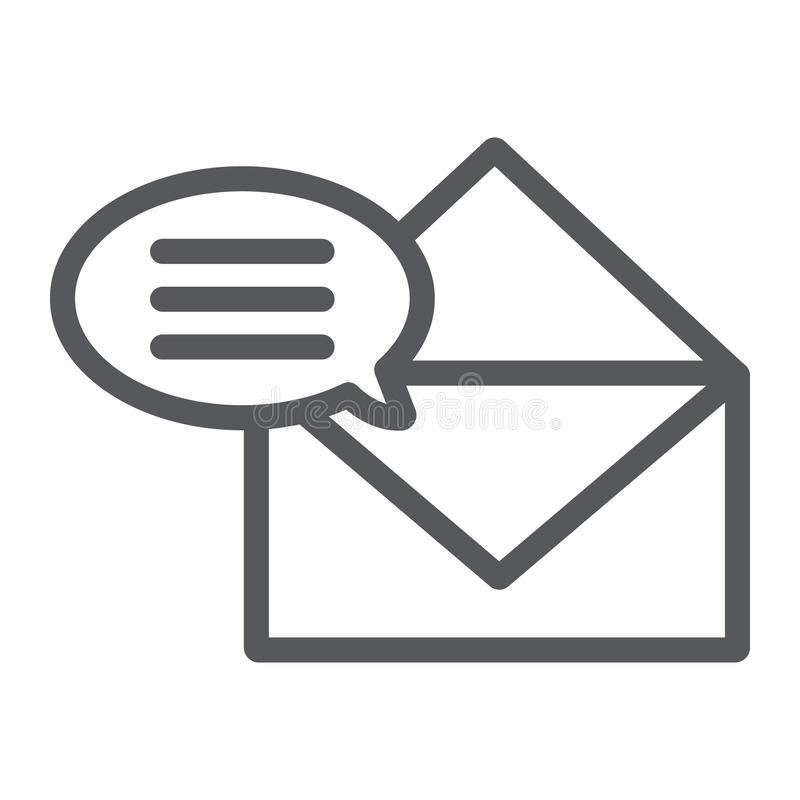 Correspondence line icon, email and mail, envelope sign, vector graphics, a linear pattern on a white background. Correspondence line icon, email and mail vector illustration