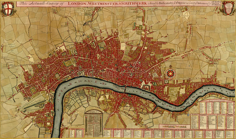 Correspondencia antigua de Londres, asnd Westminster de Southwark, ilustración del vector