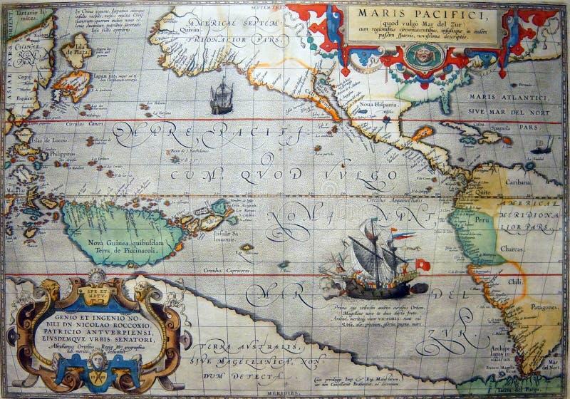 Correspondencia antigua del Océano Pacífico imagen de archivo libre de regalías
