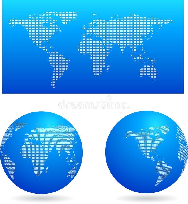 Correspondencia azul y dos globos stock de ilustración