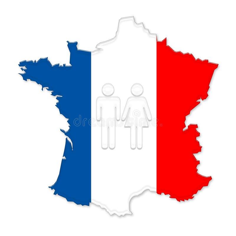 Correspondencia coloreada y gente de Francia libre illustration