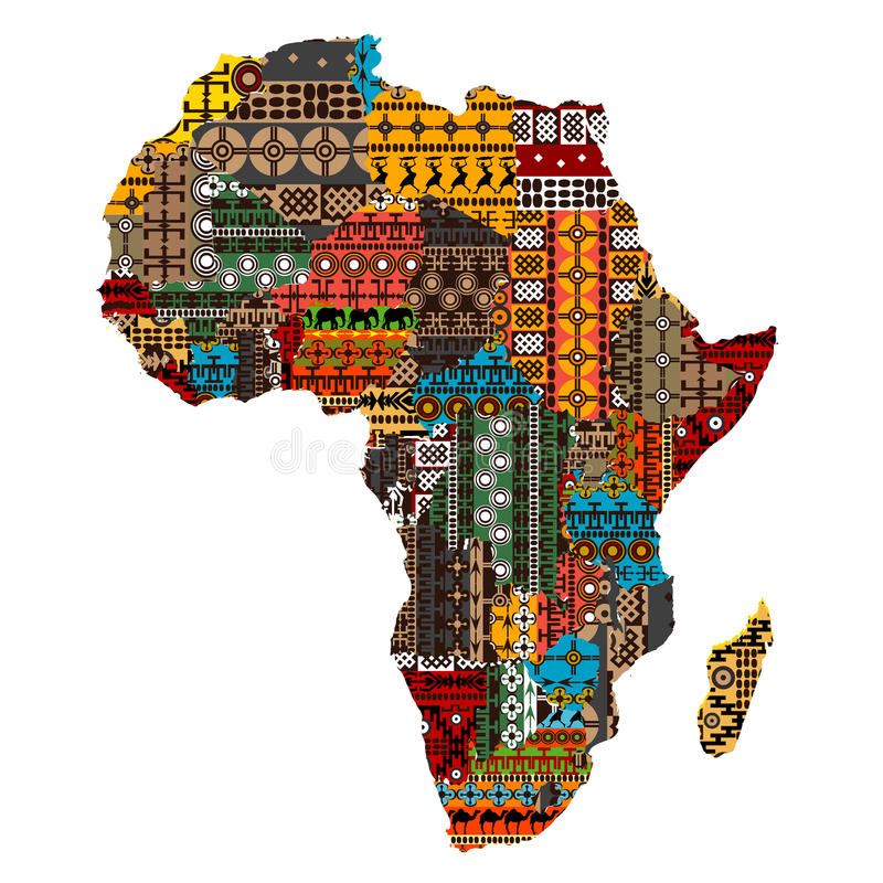 Correspondencia de África con los países hechos de texturas étnicas ilustración del vector