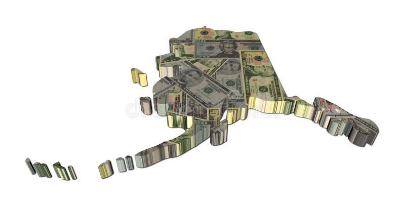 Correspondencia de Alaska con los dólares stock de ilustración