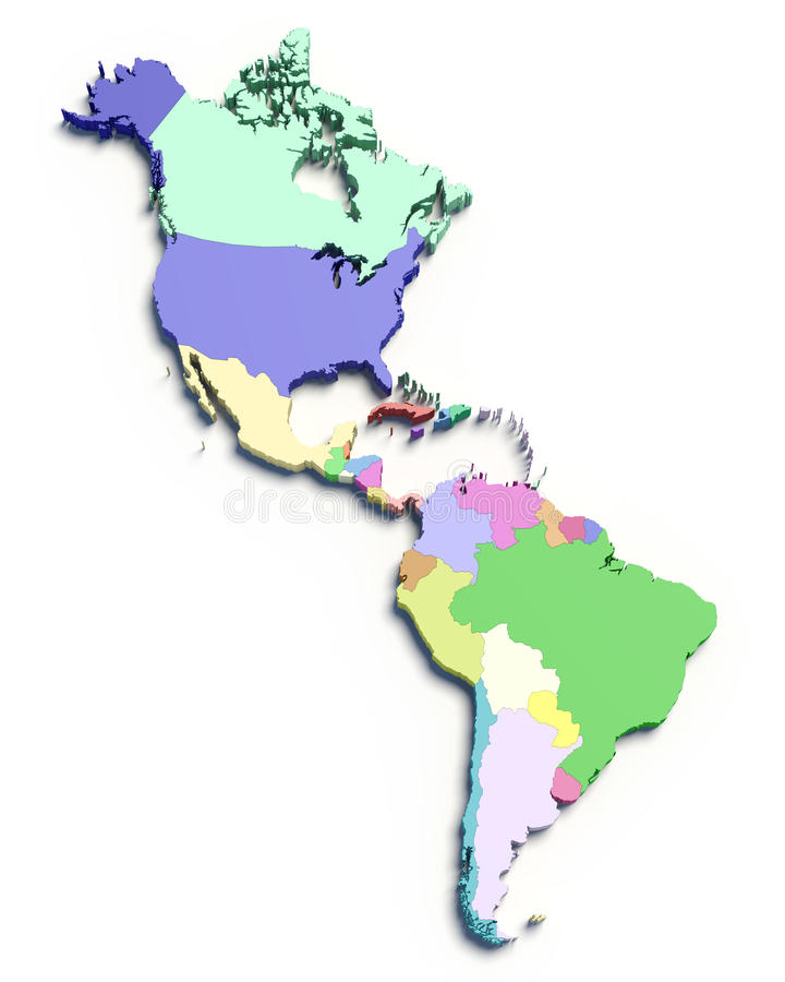 correspondencia de color 3d del sur y de los países norteamericanos ilustración del vector