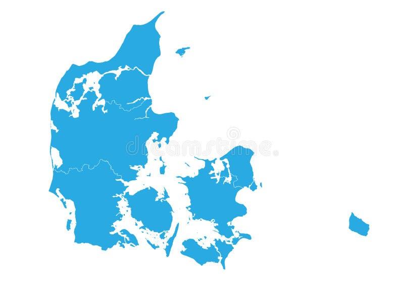 Correspondencia de Dinamarca Alto mapa detallado del vector - Dinamarca ilustración del vector