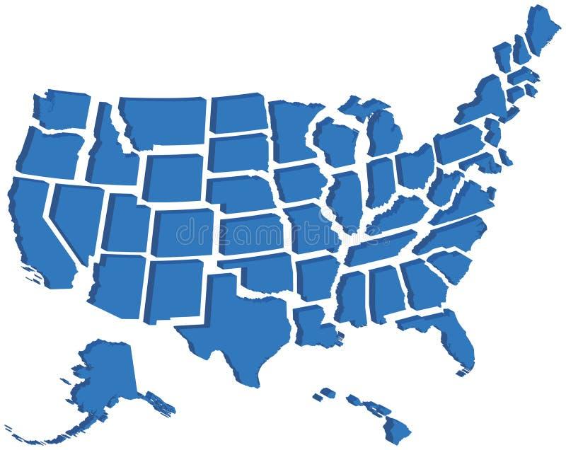 Correspondencia de Estados Unidos 3D ilustración del vector