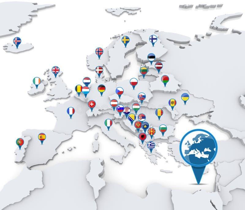 Correspondencia de Europa con los indicadores nacionales fotos de archivo