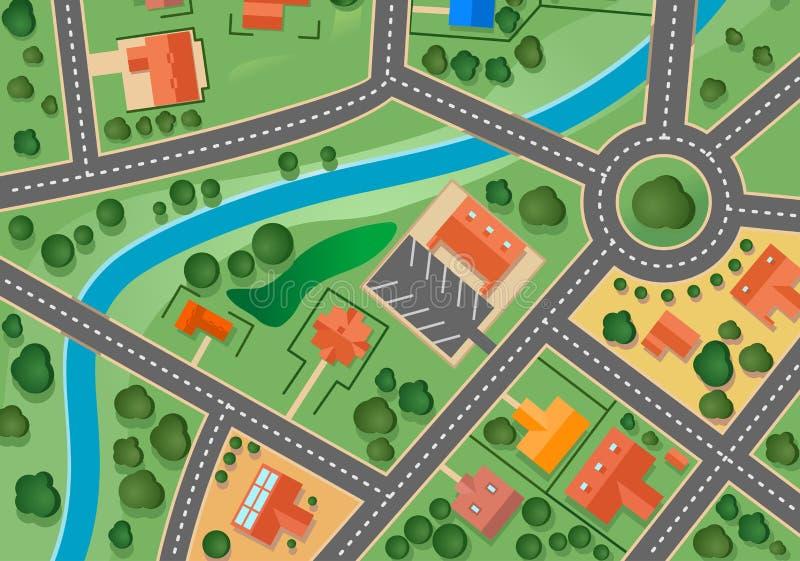 Correspondencia de la aldea del suburbio stock de ilustración