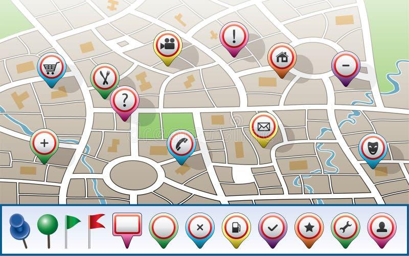 Correspondencia de la ciudad con los iconos del GPS ilustración del vector