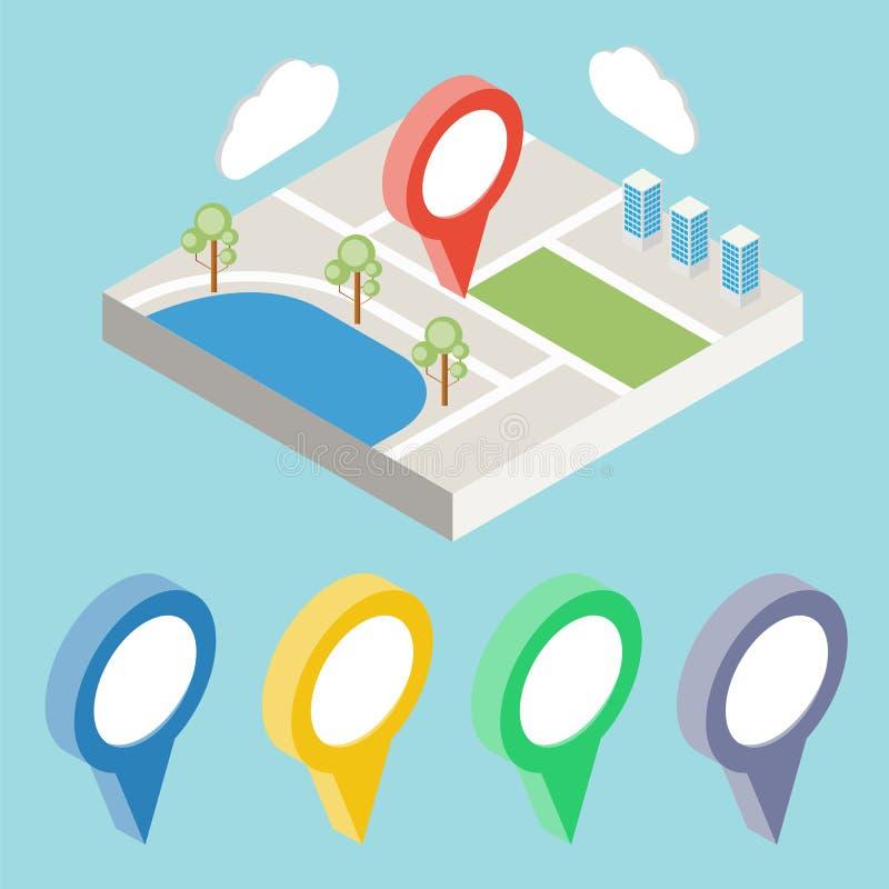 Correspondencia de la ciudad con los iconos del GPS GPS isométrico stock de ilustración