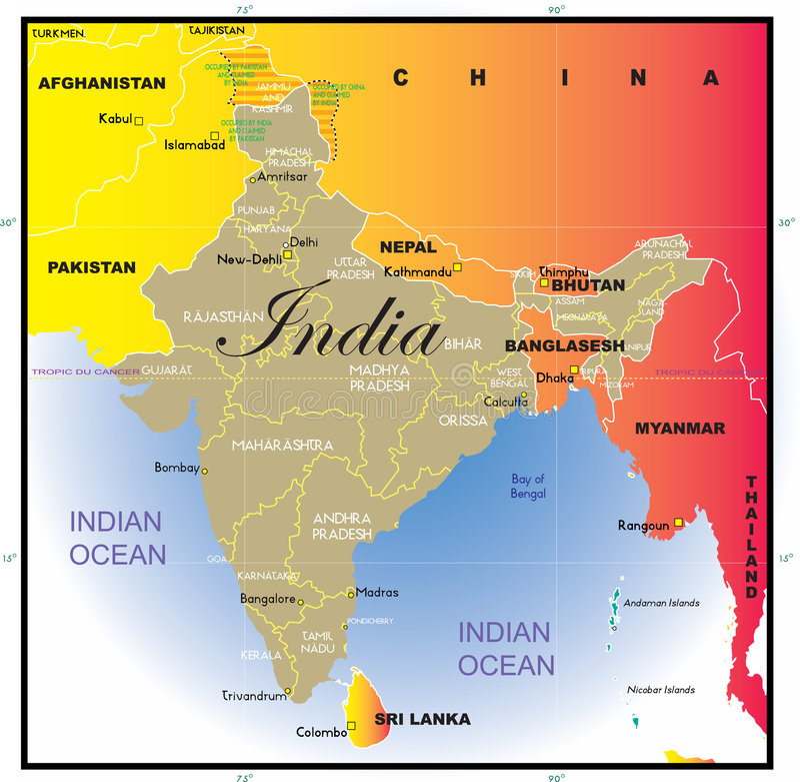 Correspondencia de la India con los estados. ilustración del vector