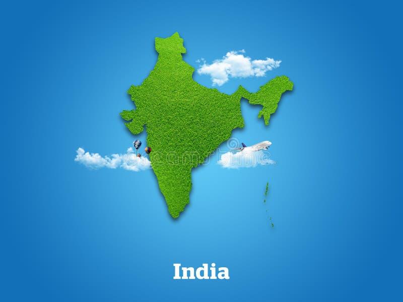 Correspondencia de la India Hierba verde, cielo y concepto nublado fotos de archivo