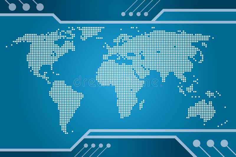 Correspondencia de la tecnología del mundo stock de ilustración