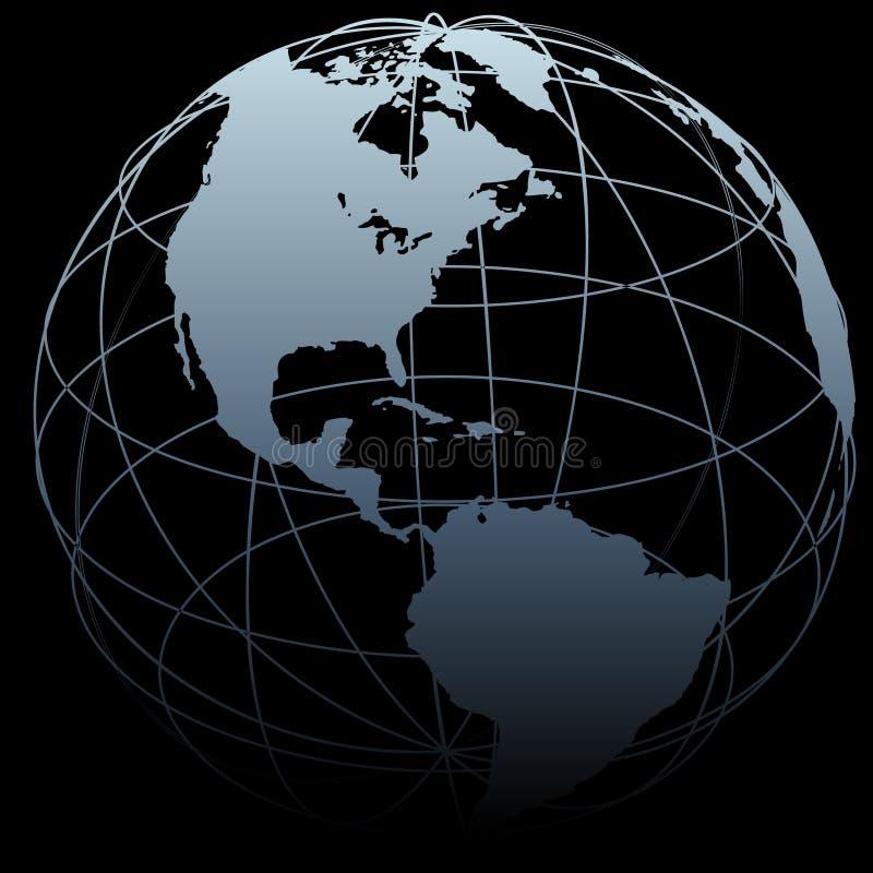 Correspondencia de la tierra 3D del símbolo del globo en negro stock de ilustración