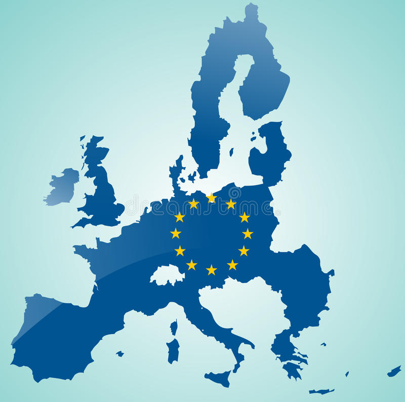 Mapa de la unión europea ilustración del vector