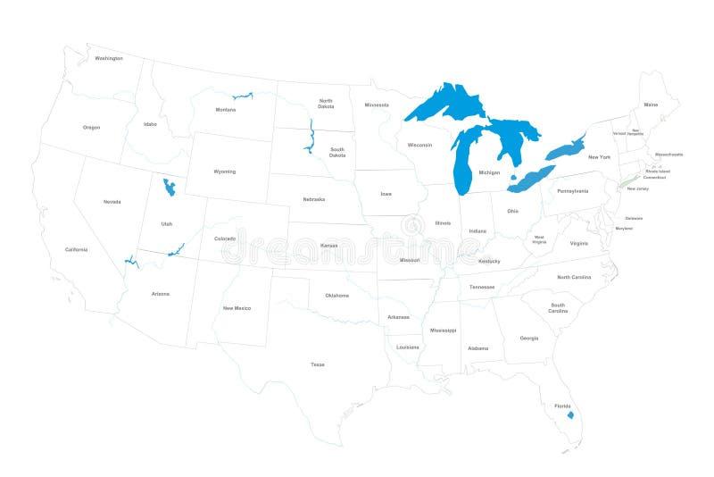 Correspondencia de los E.E.U.U. con los estados y los nombres stock de ilustración