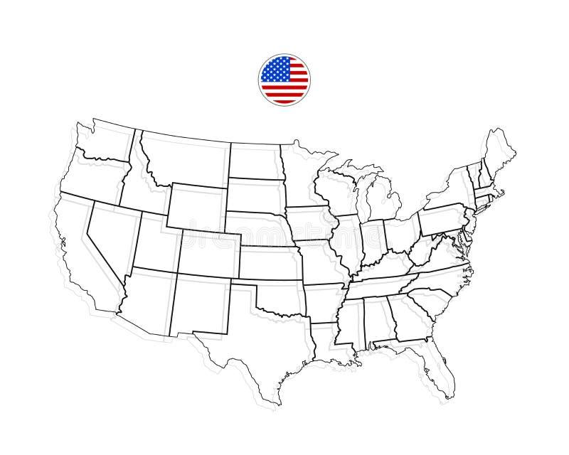 Correspondencia de los Estados Unidos de América Vector de los E.E.U.U. negro ilustración del vector