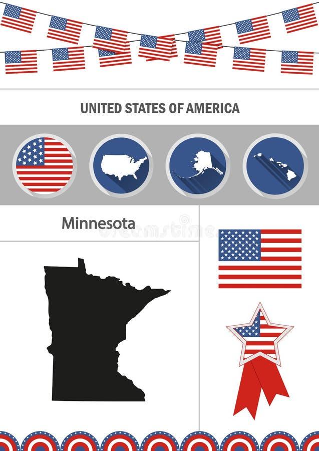 Correspondencia de Minnesota Sistema de elementos planos del nfographics de los iconos del diseño ilustración del vector