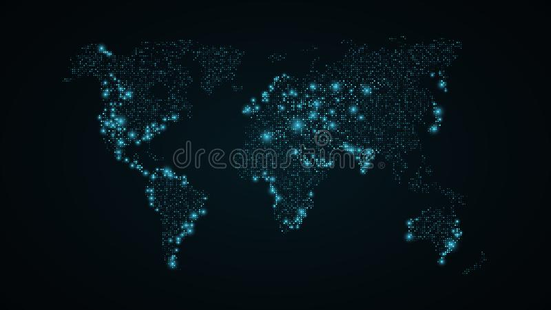 Correspondencia de mundo abstracta Mapa azul de la tierra de los puntos cuadrados Fondo azul marino Luces azules De alta tecnolog libre illustration
