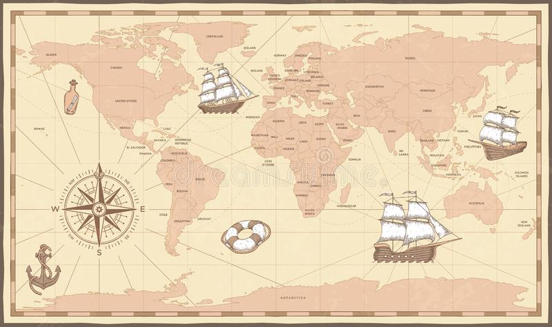 Correspondencia de mundo antigua Compás del vintage y nave retra en mapa marino antiguo Ejemplo del vector de los límites de los  libre illustration