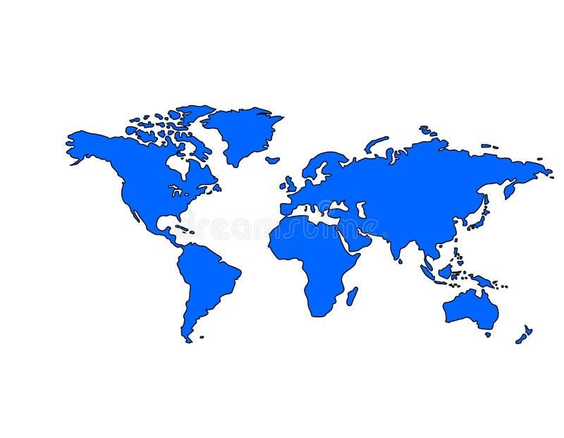 Correspondencia de mundo (azul) ilustración del vector