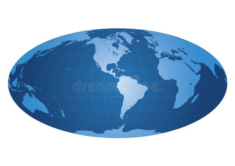 Correspondencia de mundo centrada en América ilustración del vector