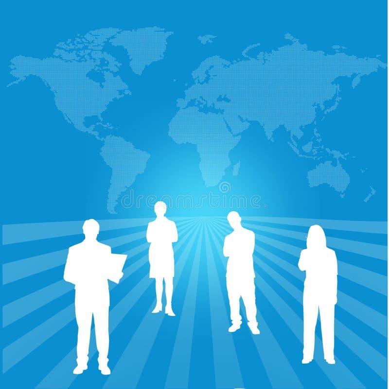 Correspondencia de mundo con la organización interactiva ilustración del vector