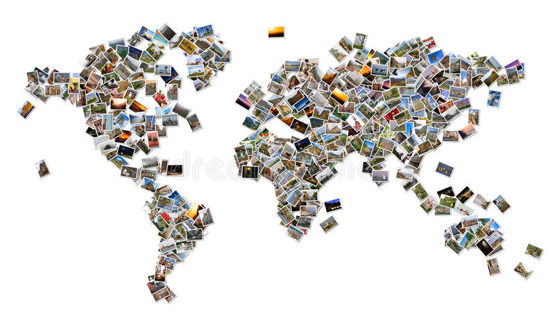Correspondencia de mundo con las fotos foto de archivo