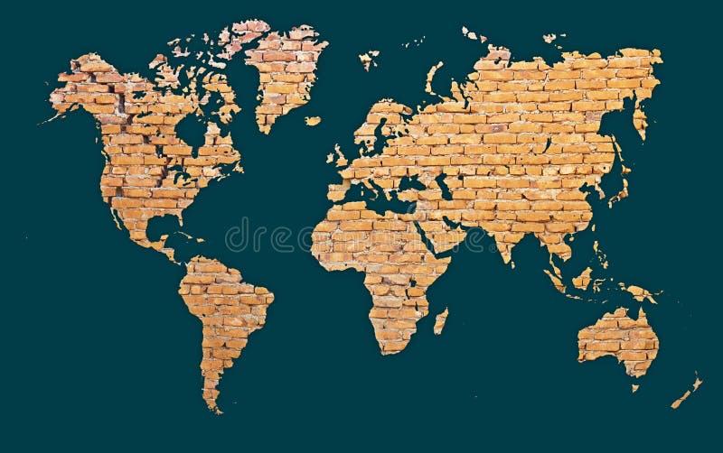 Correspondencia de mundo con los continentes hechos de ladrillo stock de ilustración