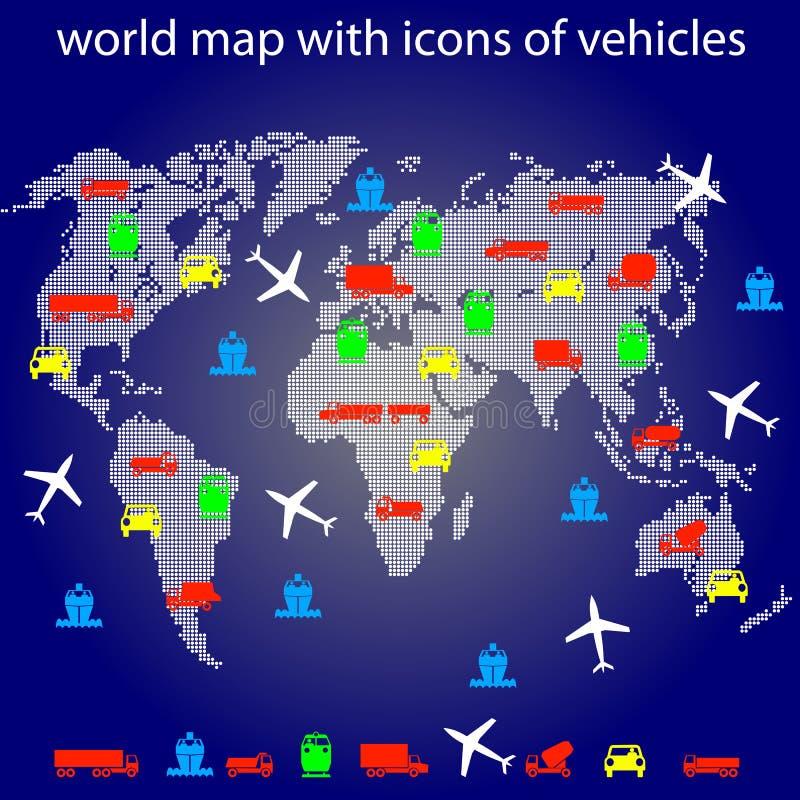 Correspondencia de mundo con los iconos del transporte para viajar. stock de ilustración