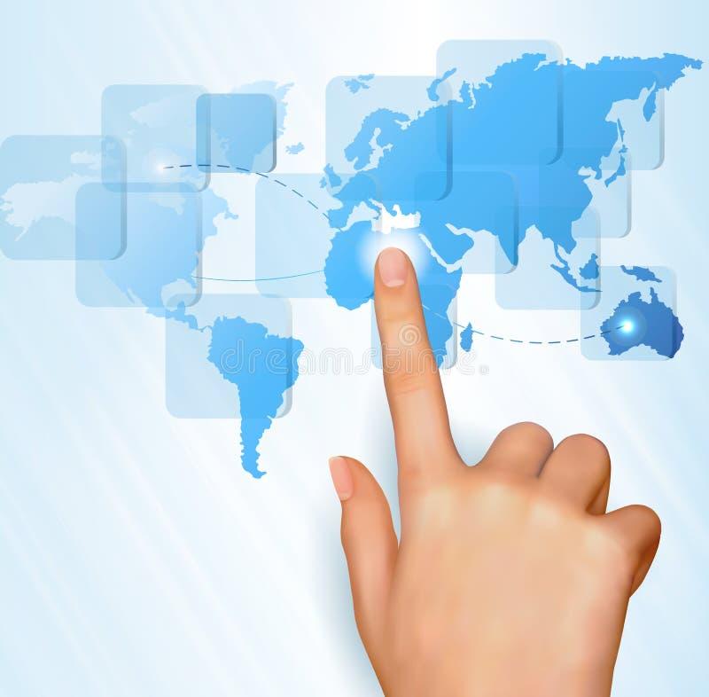 Correspondencia de mundo conmovedora del dedo en una pantalla táctil ilustración del vector
