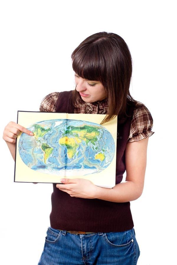 Correspondencia de mundo de la demostración de la muchacha del estudiante fotografía de archivo