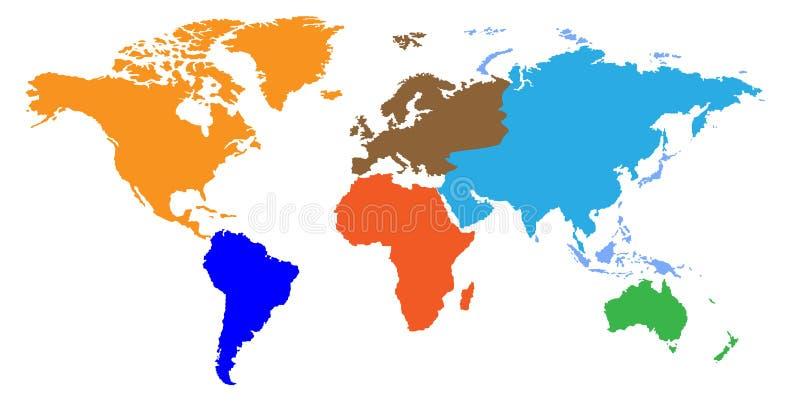 Correspondencia de mundo de los continentes stock de ilustración