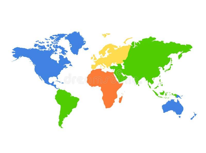 Correspondencia de mundo de los continentes - colorida ilustración del vector