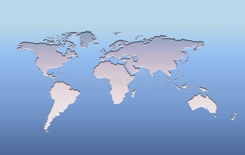 correspondencia de mundo de plata en azul stock de ilustración