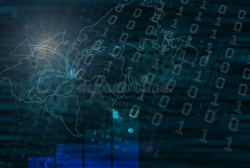 Correspondencia de mundo del asunto de la tecnología stock de ilustración