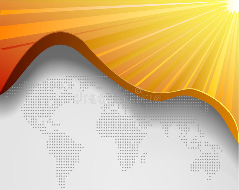 Correspondencia de mundo del vector y fondo amarillo ilustración del vector