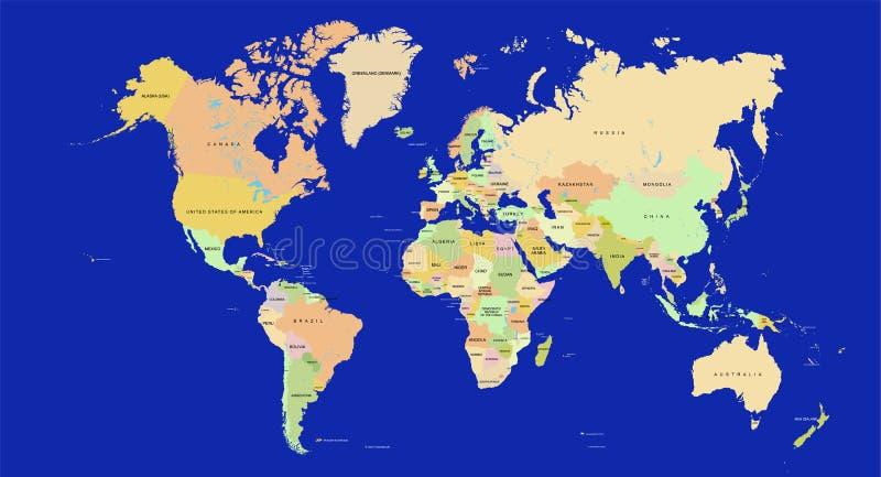 Correspondencia de mundo detalladamente ilustración del vector