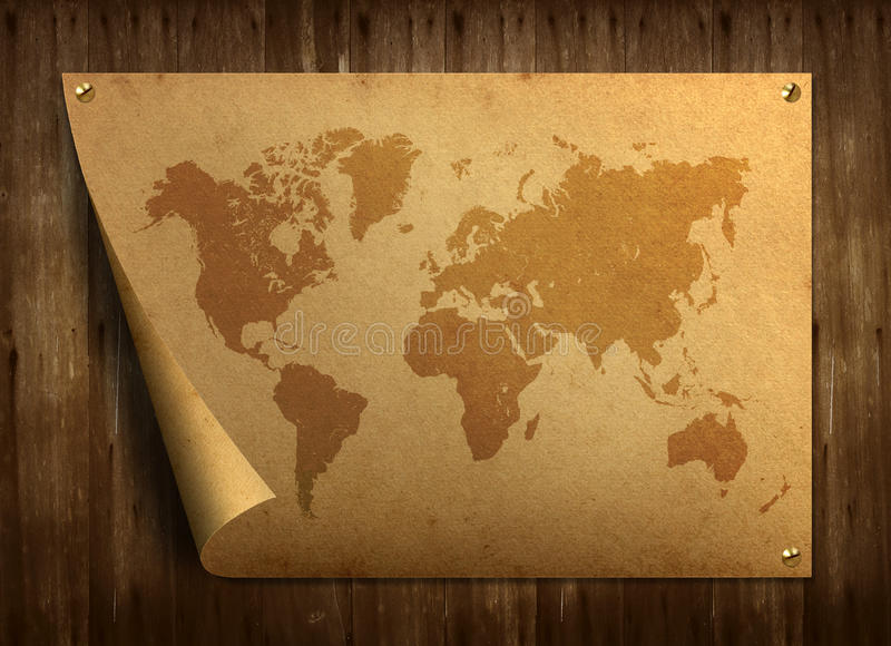Correspondencia de mundo en el papel viejo. fotos de archivo