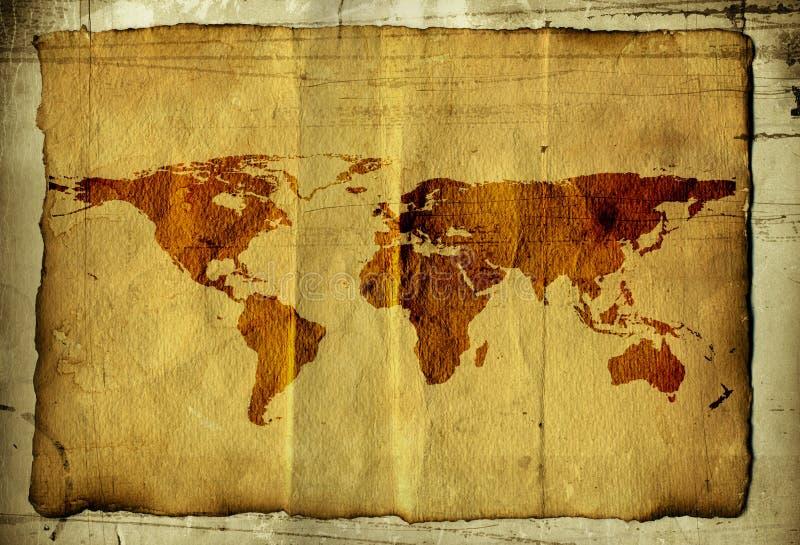 Correspondencia de mundo en el pergamino foto de archivo libre de regalías