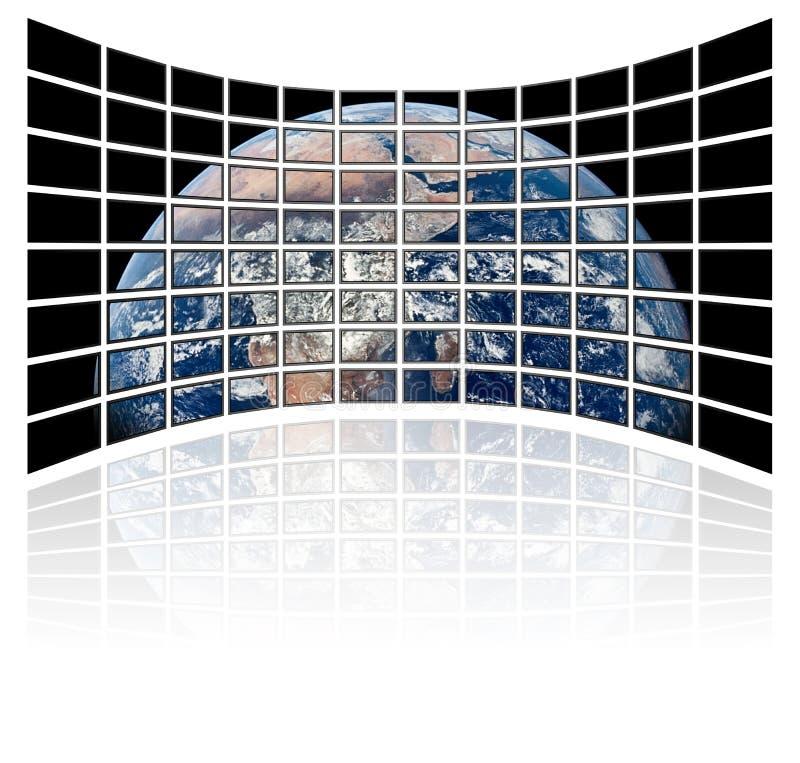 Correspondencia de mundo en las pantallas de la TV (fondo blanco) ilustración del vector
