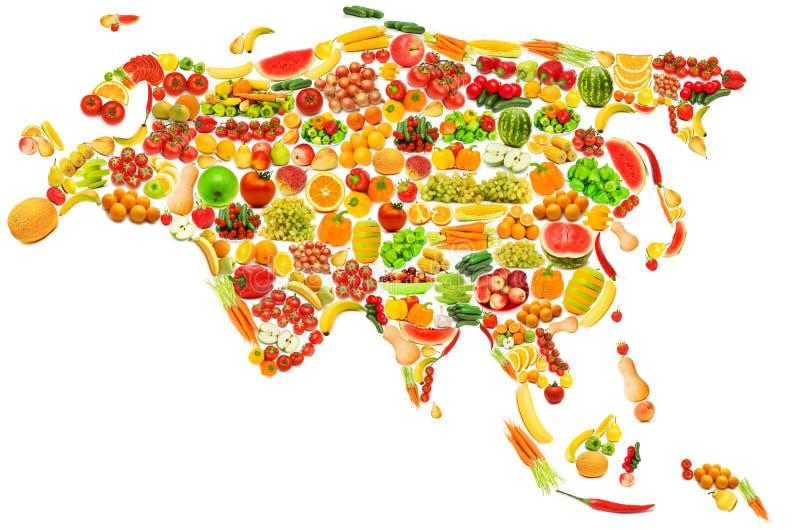 Correspondencia de mundo hecha de frutas y verdura imagen de archivo