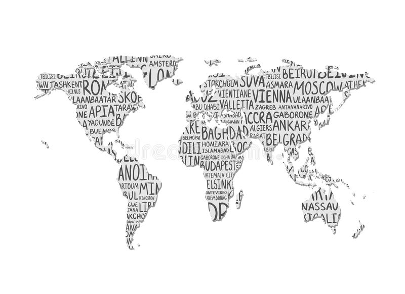Correspondencia de mundo Modelo del vector de los nombres de los capitales libre illustration