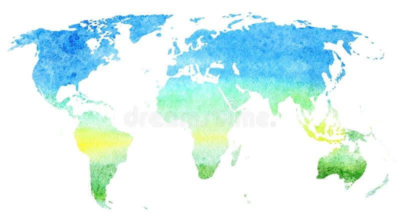 Correspondencia de mundo Tierra Ejemplo dibujado mano de la acuarela ilustración del vector