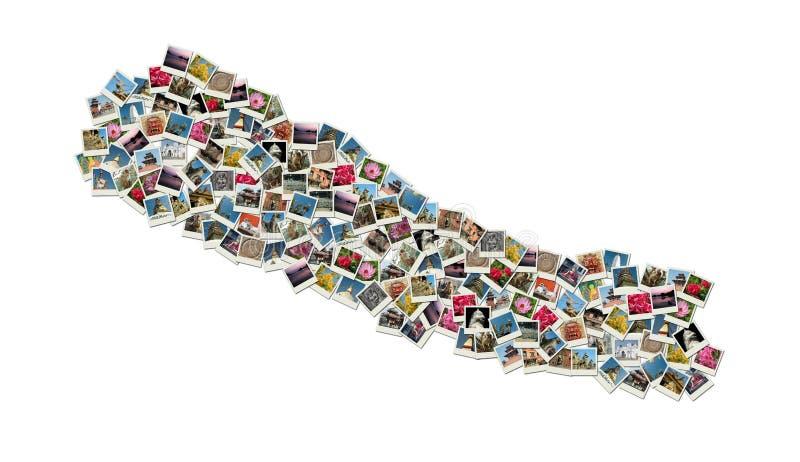 Correspondencia de Nepal - collage hecho de las fotos del recorrido fotografía de archivo