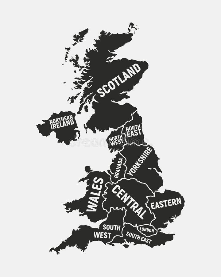 Correspondencia de Reino Unido Mapa del cartel de Reino Unido con el país y nombres de las regiones Fondo de Reino Unido Ilustrac ilustración del vector